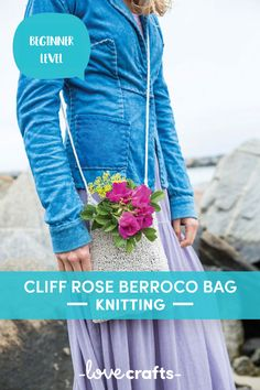 This cute little shoulder bag from Berroco is a super sweet and simple project to get your knitting needles in to! | Downloadable PDF at LoveCrafts.com