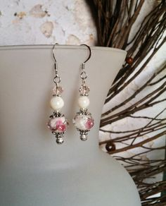 White and Rose Faceted Lampwork Dangle Earrings by SmockandStone, $13.00