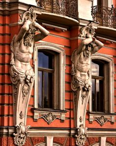 Palace of Beloselsky-Belozersky (Atlantean figures supporting the balcony) St. Petersburg, Russia.