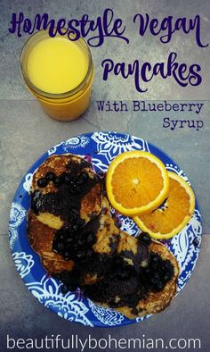 Homestyle vegan pancakes with blueberry syrup!