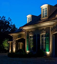 ClaroLux's GM100 Gutter Mounts in action!  Create nighttime masterpieces with innovative products from ClaroLux, LLC.