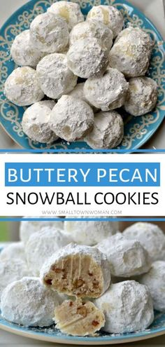 Buttery Pecan Snowball Cookies The perfect holiday dessert recipe that freezel well! These Buttery Pecan Snowball Cookies are easy, quick to fix, and delicious. Also know as Russian Tea Cakes and Mexican Wedding Cookies, these addictive cookies wi Tea Cakes, Holiday Baking, Christmas Baking, Pecan Shortbread Cookies, Buttery Cookies, Snowball Cookies Pecan, Russian Tea Cake, Russian Cookies, Healthy Dessert Recipes