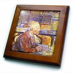 "1887 Lautrecs Pastel Portrait Of Van Gogh - 8x8 Framed Tile by 3dRose. $22.99. Inset high gloss 6"" x 6"" ceramic tile.. Dimensions: 8"" H x 8"" W x 1/2"" D. Solid wood frame. Keyhole in the back of frame allows for easy hanging.. Cherry Finish. 1887 Lautrecs Pastel Portrait Of Van Gogh Framed Tile is 8"" x 8"" with a 6"" x 6"" high gloss inset ceramic tile, surrounded by a solid wood frame with pre-drilled keyhole for easy wall mounting."