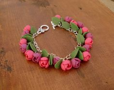 Polymer clay bracelet Flower bracelet Fimo jewelry Handcrafted