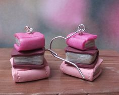 Trio of Books Dangle Earrings made from polymer clay and sterling silver - Pink - Maroon. on Etsy, $10.00 AUD