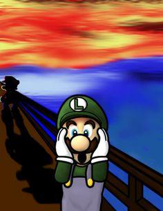 "15 Different and Funny Interpretations of Edvard Munch's ""The Scream"" - Interactive Online Super Mario Kunst, Super Mario Art, O Grito Edvard Munch, Scream Parody, Le Cri, Expressionist Artists, Famous Artwork, Comic, Cultura Pop"