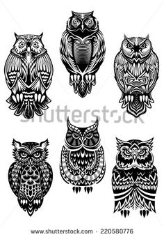 Isolated owl birds in tribal style for mascot, tattoo or wildlife concept