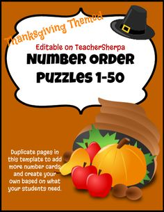 Fall Number Order Puzzles 1-50 (+ duplicate the pages in TeacherSherpa to add your own). This template includes numbers from 1-50. The student's objective is to place the cutout number cards into the correct number order to form a Thanksgiving picture. Print 2 copies, one set to cut apart for students to use and one for students to have access to self-check their work.