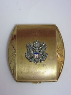 Vintage Elgin American USA Eagle Emblem Gold Vanity Mirror Powder Makeup Compact