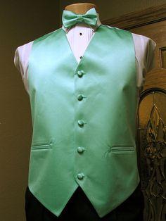 Vest Mint / Seafoam Full Back Bow Tie Tuxedo Steampunk Wedding Prom Groom