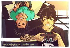 Spaghetti Ninja — Older Nico and Percy AU
