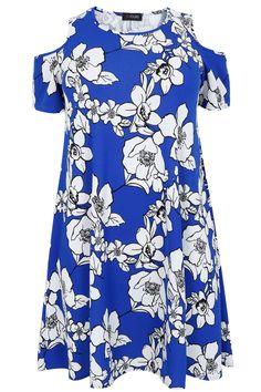 Bright Blue & White Floral Print Cold Shoulder Swing Dress