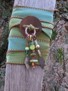 Silk Wrap Bracelet Silk Wrap Jewelry Bohemian by BoHoArtJewelry, $29.99