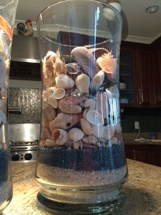 Every where I go I collect sea shells, finally out them in vases with sand! Love!!!!