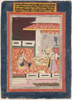 """""""On a beautiful gem-set lion throne, lord and lady in a fair palace; Four lovely sakhis plying the fan: know this is Malkos Raga."""" Rajasthan pos. Jaipur, India 1800 or later"""