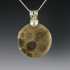 Michigan Petoskey Stone Pendant. I used to hunt for these when I was a little girl.