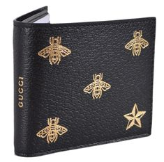 a69b0114d2ae New Gucci Men s Black Leather Golden Bee Star Design Bifold Wallet  Gucci   Bifold Star