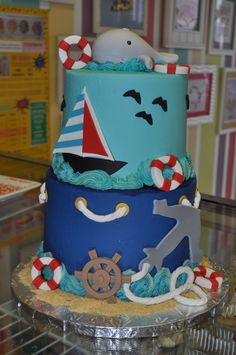 Nautical Baby Shower Cake Leah's Sweet Treats Fort Worth, TX www.LeahsSweetTreats.com