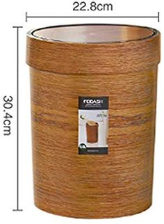 SKKGN Wooden Trash can, Kitchen Living room Garbage Accumulation container Wood grain Round Trash can Swing-top storage box-F 9.6L: Amazon.co.uk: Kitchen & Home