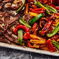 Sheet-Pan Steak Fajitas Put your broiler to work for sizzling steak fajitas that cook on one sheet pan in just 10 minutes. Seared Salmon Recipes, Pan Fried Salmon, Pan Seared Salmon, Mexican Food Recipes, Beef Recipes, Chicken Recipes, Cooking Recipes, Fast Recipes, Dinner Recipes
