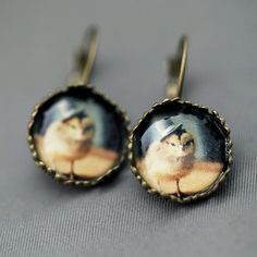 Chick In A Top Hat Earrings. I LOVE CHICKENS~!