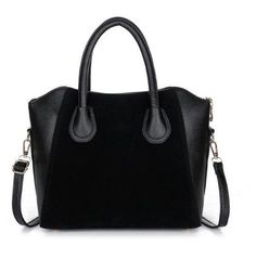 Leather handbag with shoulder strap in black, blue, or pink