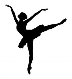 Black silhouette profile of a ballet dancer on white background