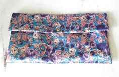 Vintage Purple and Blue Satin Clutch Snap by ThePookiesJewelryBox