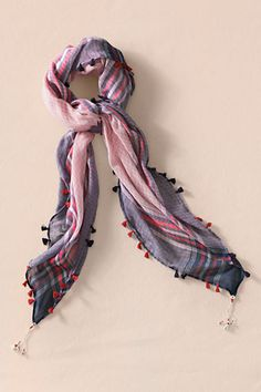 Women's Yarn Dye Scarf with Tassels from Lands' End Canvas