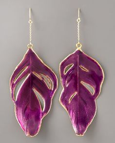 Y0SPE Aurelie Bidermann Enameled Swan-Feather Earrings, Purple