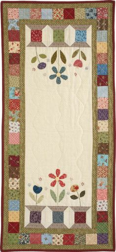 Garden Spools Runner Finished Block: x Finished Size: x Table Runner And Placemats, Table Runner Pattern, Quilted Table Runners, Small Quilt Projects, Quilting Projects, Sewing Projects, Small Quilts, Mini Quilts, Spool Quilt