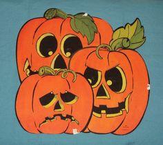 vintage halloween hallmark jack o lantern trio pumpkin decoration cutout ebay - Hallmark Halloween Decorations