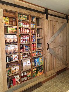 Between the Studs Pantry with Barn Door Barn Door Pantry, Storage Ideas, Liquor Cabinet, Organization Ideas, House Bar, Organizing Ideas, Storage