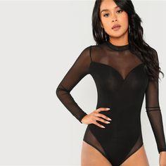 Elegant Mock Neck Mesh Panel Long Sleeve Skinny Solid Women Bodysuits - Black - Size XS to L Black Mesh Bodysuit, Pullover Shirt, Mesh Long Sleeve, Womens Bodysuit, Skinny, Long Sleeve Bodysuit, Mock Neck, Clothes For Women, Female