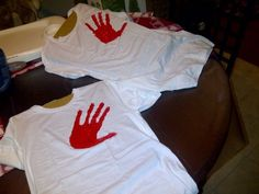 """We made night shirts with Daddy's hand print giving the kids a """"hug"""" goodnight."""