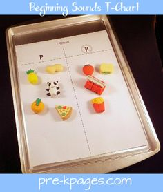 Beginning sound sort using t-chart and cheap erasers! Remove the letters and this becomes a phonological awareness activity!