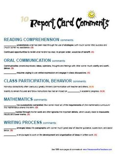 This page includes 10 report card comments for Reading Comprehension, Oral Communication, Class Participation and Behavior, Mathematics, and the Writing Process.