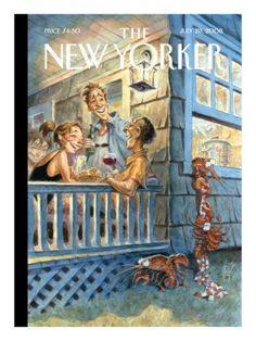 The New Yorker Cover - July 2008 by Peter de Sève. Lobsters are escaping a party. - New Yorker Cover Quiz The New Yorker, New Yorker Covers, Art And Illustration, Cover Art, Capas New Yorker, Poster Prints, Art Prints, Posters, Peta