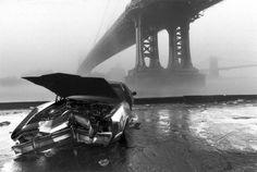 Ferdinando SCIANNA :: Manhattan Bridge and Brooklyn Bridge in the fog, NY, 1986