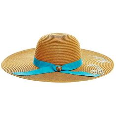 Betsey Johnson Beach Babe Floppy Hat ($28) ❤ liked on Polyvore featuring accessories, hats, turquoise, straw hat, floppy brim hat, brimmed hat, beach hat and floppy straw hat