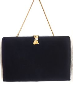 Vintage 60's Black Evening Bag w/Folding Chain Strap in Near Mint Condition…