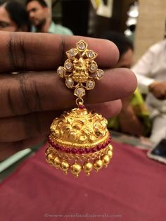 40 Grams Gold Lakshmi Jhumka, Gold Jhumka in 40 Grams, Gold Antique Jhumka with weight Details. Gold Jhumka Earrings, Jewelry Design Earrings, Gold Earrings Designs, Necklace Designs, Jhumka Designs, Gold Necklace, India Jewelry, Temple Jewellery, Gold Jewellery