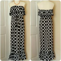 Mud Pie Black & White Medium Strapless Maxi Mud Pie Medium 100% polyester black and white circle print full maxi dress. Perfect happy hour slip on dress for an effortlessly chic look after leaving the beach! Thin elastic banded waist lined with an adjustable tassel rope, strapless, elastic neckline with a crocheted fringe accented ruffle. The only sign of wear is pictured in the 4th photo; the crocheting/stitching around the neckline ruffle is fraying-unnoticeable and easy fix! DISCOUNTED…