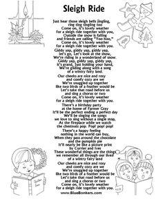 Printable Christmas Carol Lyrics sheet : Sleigh Ride