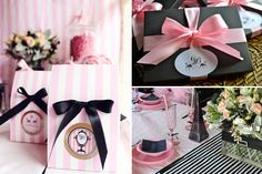 Fashion show party theme dessert tables Ideas Black Dessert, Parisian Party, Girls Party, Fashion Show Party, Sweet Sixteen Parties, Pink Poodle, Puppy Party, Paris Theme, Wedding Favours
