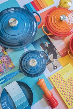 Le Creuset Colors: Deep Teal, Nectar and Flame. 🌈 Which hue is at the top of your wish list this year? 📸: Instagram @splendid_rags Le Creuset Colors, From Farm To Table, Deep Teal, Build Your Own, Bold Colors, Hue, Mosaic, It Cast, Instagram