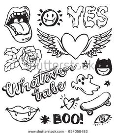 A set of grunge doodles and badges to draw or embroider on to fashion items like denim jackets. : A set of grunge doodles and badges to draw or embroider on to fashion items like denim jackets. Trippy Drawings, Mini Drawings, Doodle Drawings, Art Drawings Sketches, Tattoo Sketches, Tattoo Drawings, Tumblr Drawings Grunge, Hipster Drawings, Kritzelei Tattoo