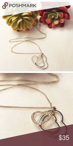 """NWOT Heart Necklace Heart necklace. Silver colour with 3 Heart pendant. 17"""" minimum chain. adjustable. Super cute! Jewelry Necklaces"""