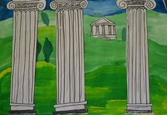 This Old Art Room: March 2013 – Grade Art - architecture house Landscape Art Lessons, Greek Crafts, Greece Art, Greek Mythology Art, Montessori Art, Art Through The Ages, Ancient Greek Architecture, Roman Art, Country Art