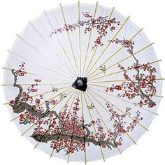 Cherry Blossom Chinese Paper and Bamboo Parasol